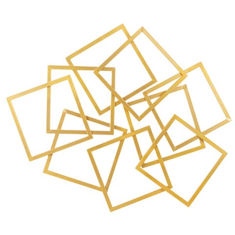 """Large Abstract Layered Square Gold Metal Wall Decor 45"""" X 37"""""""
