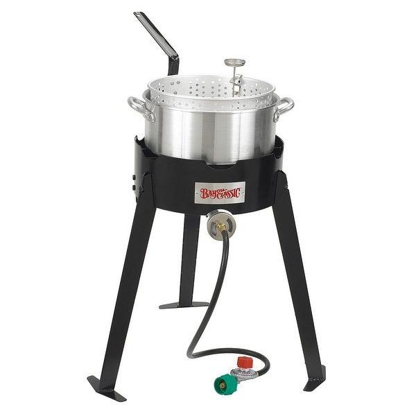 Bayou Classic 2212 22 Inch Aluminum Outdoor Fish Cooker Set - Black