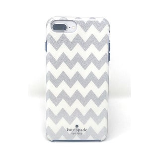 Kate Spade New York Protective Case for iPhone 8 Plus, 7 Plus, 6s Plus, and 6 Plus - Chevron Glitter Silver/Navy