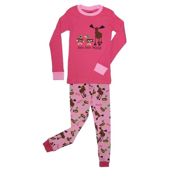 Lazy One Girls' Duck Duck Moose Pajama Set