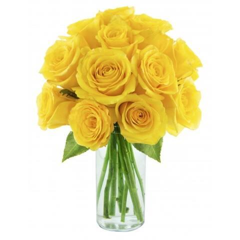 KaBloom: Yellow Sunshine Bouquet of 12 Fresh Cut Yellow Roses (Farm-Fresh, Long-Stem) with Vase
