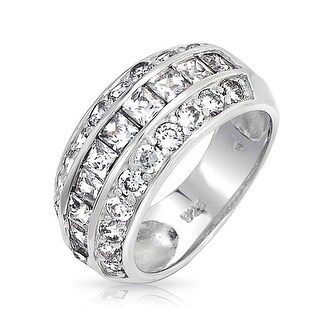 Bling Jewelry Sterling Silver Princess Cut Pave Round Wide CZ Dome Ring