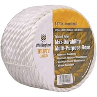 "Wellington 11002 Multi-Filament Twisted Rope, 1/2"" x 50', White"