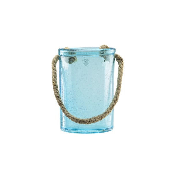 "8"" Transparent Azure Blue Hand Blown Bubble Glass Hurricane with Jute Handle"