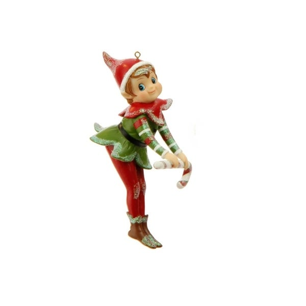 "5"" Little Girl Elf Posing with Candy Cane Christmas Ornament"