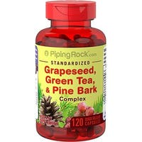 Piping Rock Standardized Grapeseed, Green Tea & Pine Bark Complex 120 Quick Release Capsules Dietary Supplement