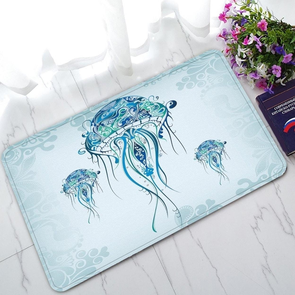 Jellyfish In The Blue Ocean Non Slip Doormat Indoor Outdoor Bathroom Doormat 30 X 18 Inches Multi Overstock 32350612