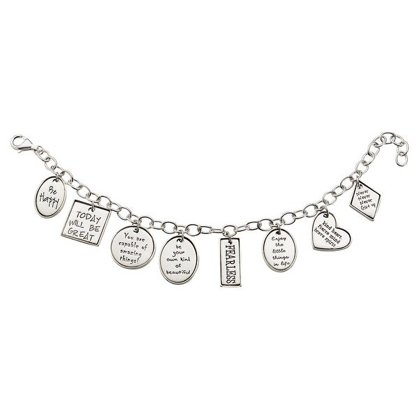 08827d1c05 Shop Women's Positivity Charm Bracelet - Sterling Silver Inspirational  Charms - On Sale - Free Shipping Today - Overstock - 18509712