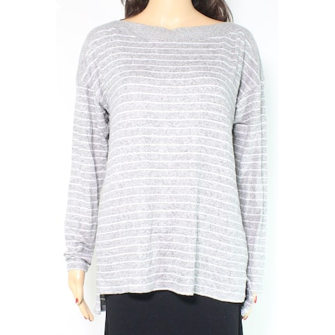 Gibson Women's Sweater Gray Size Large L Striped Long Sleeve Pullover