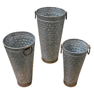 Three Piece Tall Metal Planter With Tapered Bottom, Gray
