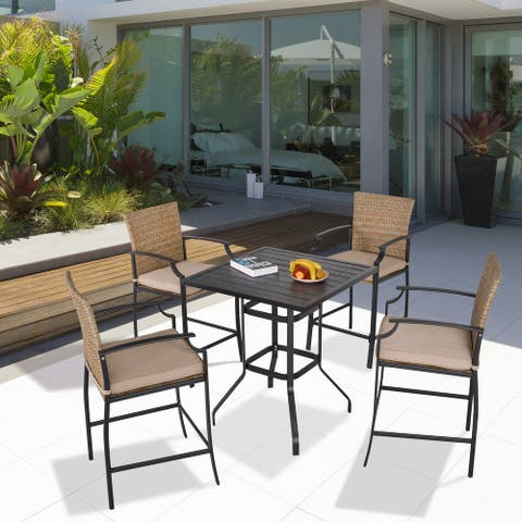 Outsunny 5-Piece Rattan Bar Table and 4 Chairs with Padded Cushions, Mixed Brown