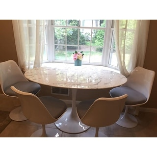 """Lippa Marble 54"""" White Oval-shaped Dining Table"""