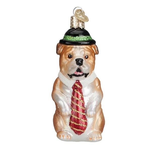 "4.25"" Old World Christmas Mr. Business Bulldog Glass Ornament #12367"