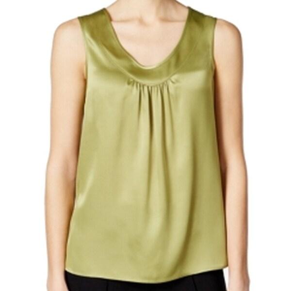 ac88ba8887dc17 Shop Kasper NEW Green Limezest Women s Size Large L V-Neck Satin ...