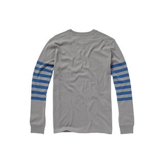 Quiksilver NEW Gray Blue Mens Size 2XL Sleeve-Stripe Crewneck Sweater