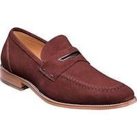 Stacy Adams Men's Colfax Moc Toe Penny Loafer Oxblood Suede