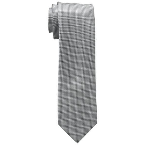 Calvin Klein NEW Silver Mens One Size Solid Woven Silk Slim Neck Tie