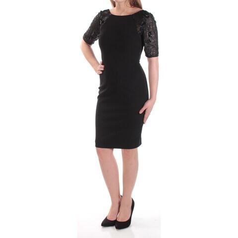 Womens Black Short Sleeve Above The Knee Sheath Formal Dress Size: 0