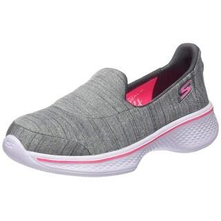 Skechers Kids Girls' Go Walk 4 Satisfy Slip-On Sneaker,Gray,