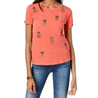 Lucky Brand Pink Women's Size Small S Embroidered Pineapple Tee