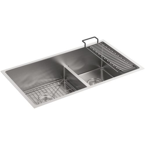 kohler k 5284 strive 32 smart divide under mount largemedium double bowl kitchen sink with basin rack free shipping today overstockcom 22326776 - Kohler Sple Dienstprogramm Rack