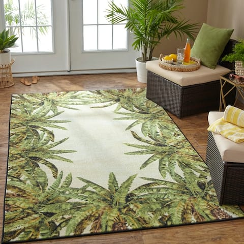 Mohawk Home Tropical Verde Palm Border Area Rug