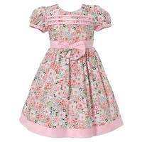Richie House Baby Girls Pink Floral Print Bow Designer Dress 12-18M