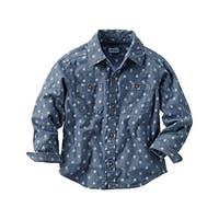 Carter's Baby Boys' Printed Chambray Button Down Shirt