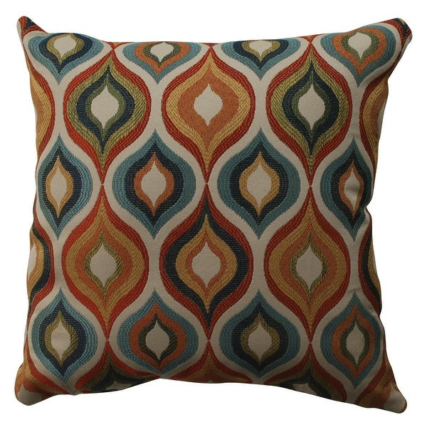 "16.5"" Pavo Multi-Color Hourglass Design Decorative Square Throw Pillow"