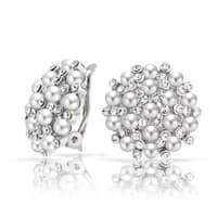 Bling Jewelry Crystal White Imitation Pearl Clip On Earrings Rhodium Plated Brass