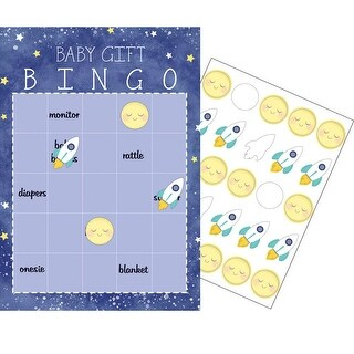"Club Pack of 60 Blue and White Checkered ""Baby Gift"" Bingo Game 10"