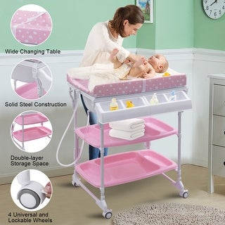 Shop Costway Baby Infant Bath Changing Table Diaper Station Nursery  Organizer Storage W Tube   Pink   On Sale   Free Shipping Today    Overstock.com   ...