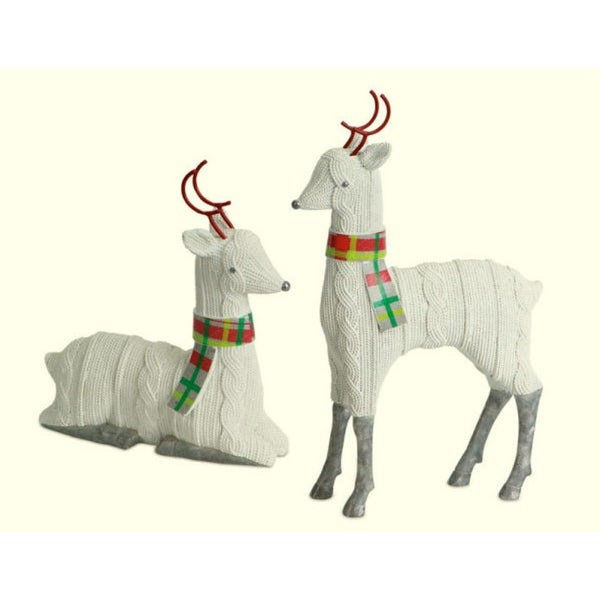 Set of 2 Off-White Faux Knit Reindeer Christmas Table Top Figures
