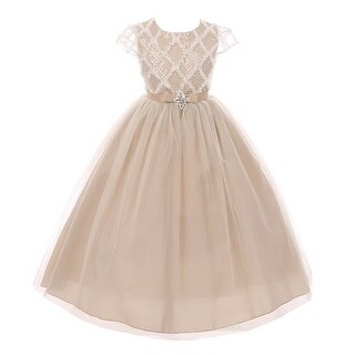 Girls Champagne Rhombus Sequin Tulle Junior Bridesmaid/Flower Girl Dress (More options available)
