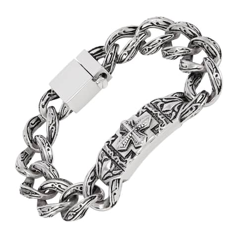 Men's Stainless Steel Cross Curved Plate Link Bracelet, 8.5 Inches