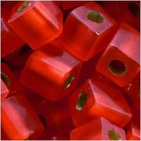 Miyuki 4mm Glass Cube Beads Silver Lined Matte Flame Red 010F 10 Grams