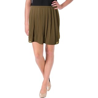 MICHAEL Michael Kors Womens Studded Pleated A-Line Skirt