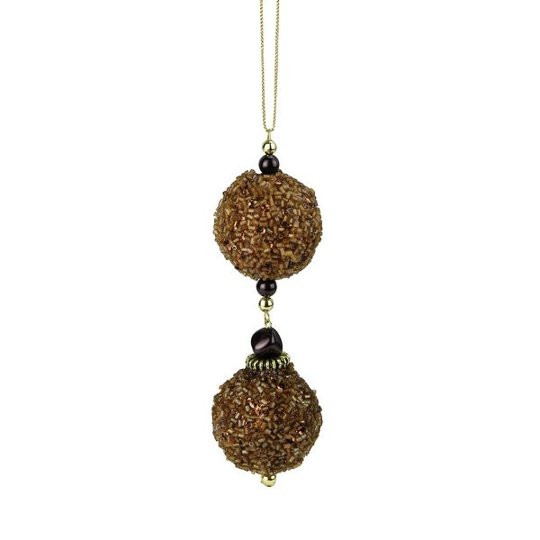 Chocolate Shop Gold Balls Rolled in Glitter Christmas Ornament 5""