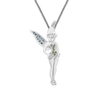 Disney's Tinker Bell Pendant with Swarovski Crystal in Sterling Silver - Green