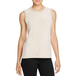 Calvin Klein Womens Tank Top Faux Suede Ribbed Knit