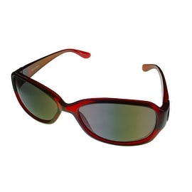 Ellen Tracy Womens Sunglass Recrangle Plastic Wrap 503 3 Burgundy, Gradient Lens - Medium