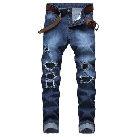 Men Jeans Ripped Biker Straight Destroyed Distressed Stretch Slim Fit Jeans With Zipper Deco