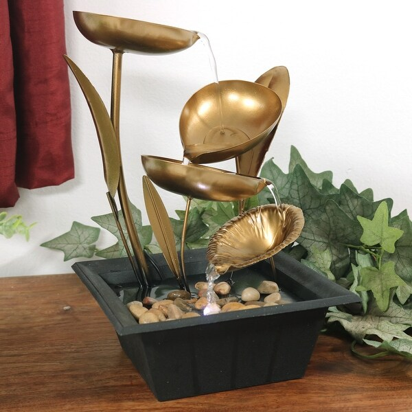 Sunnydaze Metal Table Fountain 4 Leaves Cascading Tiered Water Feature w/LEDs