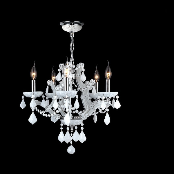 Worldwide Lighting W83116C19-WH Lyre 5 Light Candle Style Crystal  Chandelier -