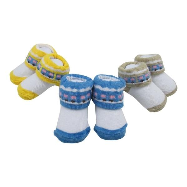 Baby Girls Yellow Tan Blue Square Dot Print 3 Pairs Assorted Socks