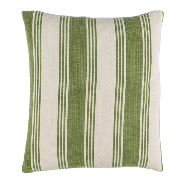 "18"" Maritime Grass Green and Alabaster White Decorative Throw Pillow – Down Filler"