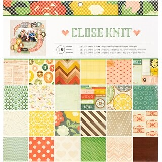 "American Crafts Single-Sided Paper Pad 12""X12"" 48/Pkg-Close Knit"