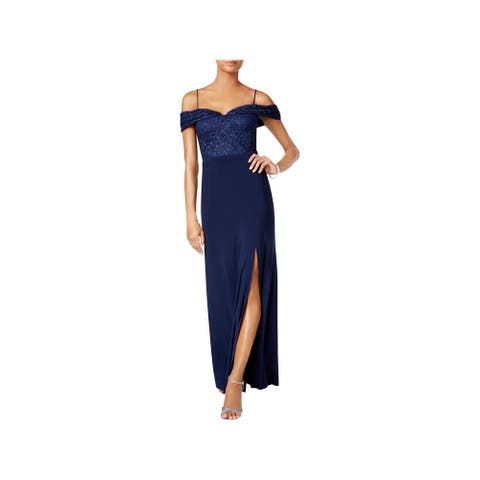 NW Nightway Womens Evening Dress Off-The-Shoulder Full-Length