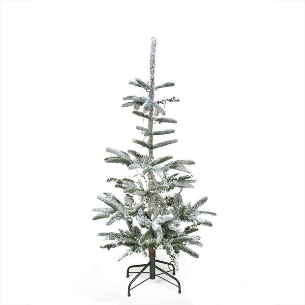 4.5' Pre-Lit Noble Fir Artificial Flocked Christmas Tree - Warm Clear LED Lights - green