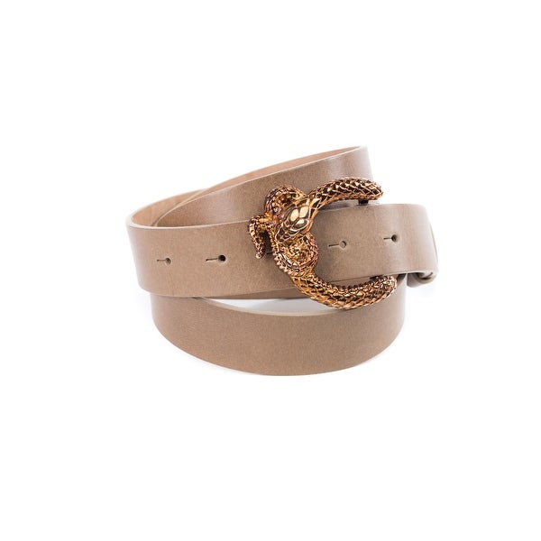 Cavalli Womens Birtch Leather Belt with Python Buckle